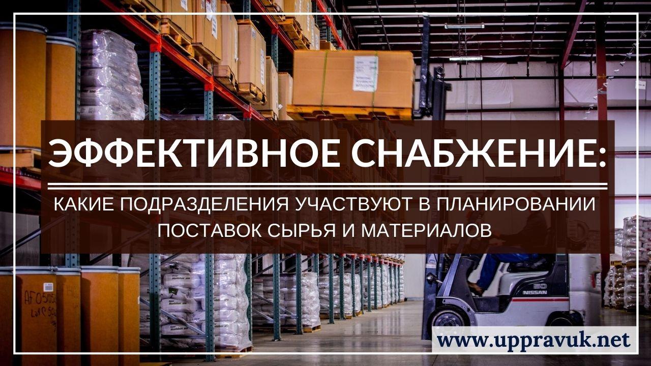 Эффективное снабжение: Какие подразделения участвуют в планировании поставок сырья и материалов. Ольга Правук